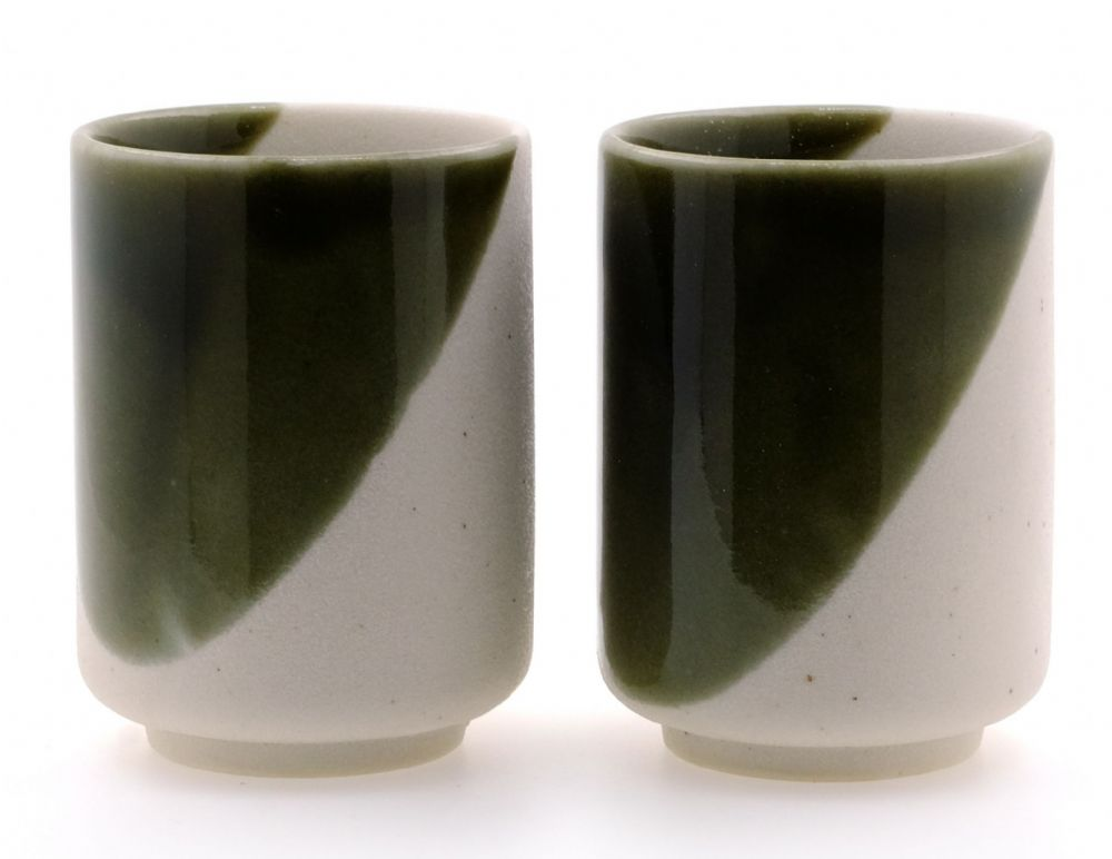 White Sand Dunes Ceramic Japanese Tea Cups X 2
